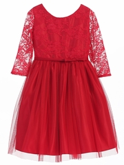 CLEARANCE - Red 3/4 Lace Sleeve Ballerina Dress