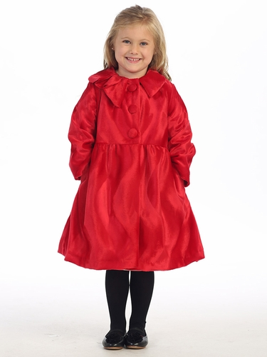Red 3 Button Collard Coat