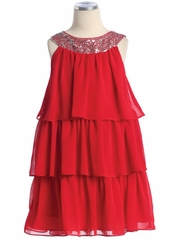 Red 3-Tier Chiffon Sequins Dress