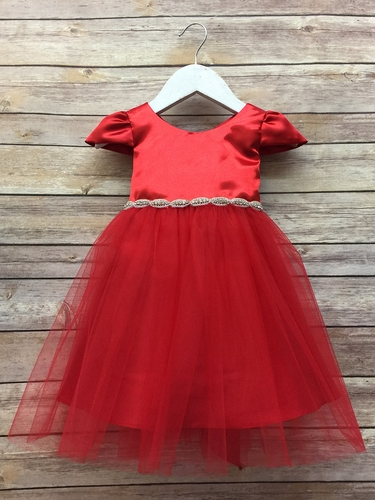 Red Baby Satin & Tulle Dress w/ Cap Sleeve & Gem Belt
