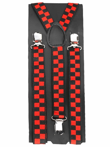 Red & Black Checkered Kid Suspenders