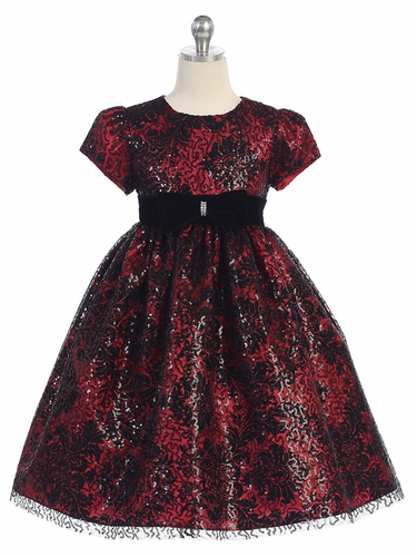 Red & Black Floral Lace Overlay Dress w/ Velvet Waistband