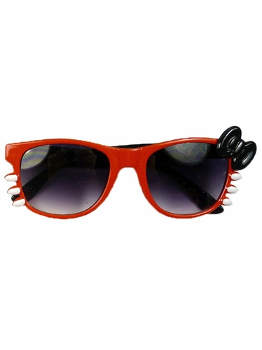 Red/Black Junior Smoke Gradient Polycarbonate Lens Sunglasses w/ Bow