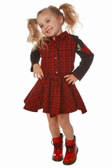 Ooh! La La! Couture Red and Black Plaid Swing Dress