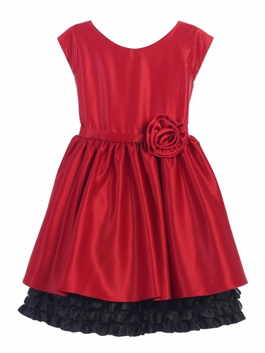 Red & Black Satin w/ Ruffle Dress