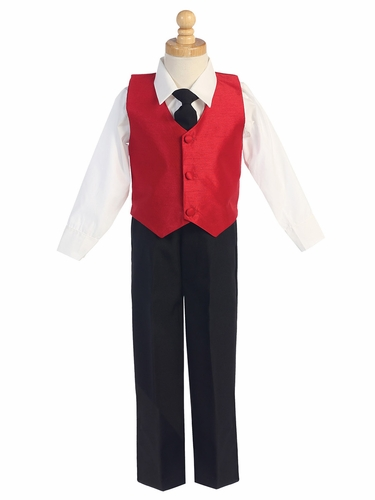 Red Boys Poly Silk Vest & Black Pant Set