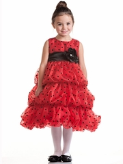 Red Bubble Layered Organza Dress w/ Black Polka Dots