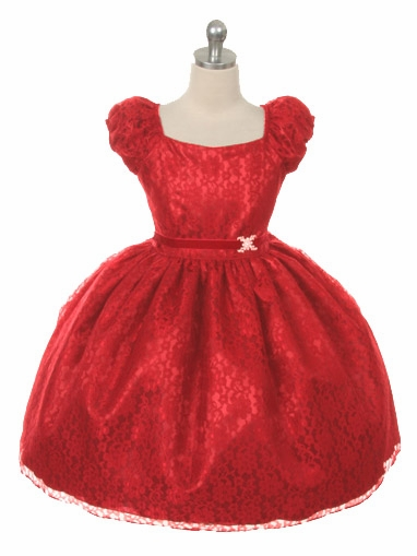 Red lace flower dress