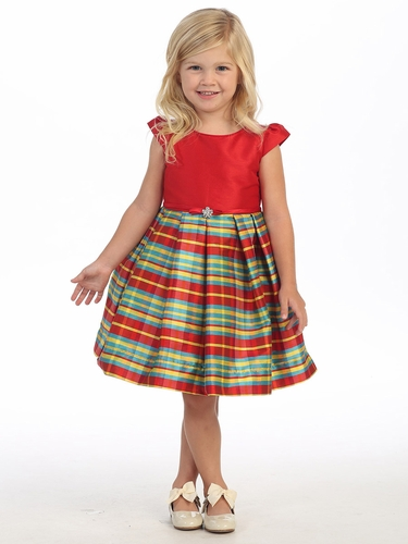 Red Cap Sleeve Striped Holiday Dress