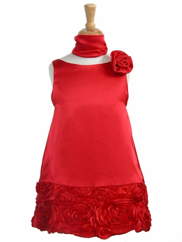Red Charmeuse w/Ribbon Embroidered Bottom and Pinned Flower
