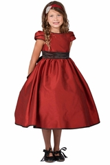Kid's Dream 406 Red Classic Satin Tulip Sleeve Dress