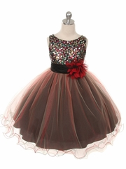 Red Double Mesh Dress w/ Multi Sequins Bodice & Flower Sash