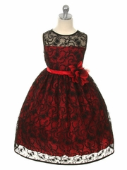 Red Dress w/ Black Overlay Lace