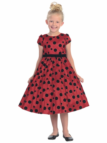 Red Flocked Polka-Dot Taffeta Dress w/Sleeves