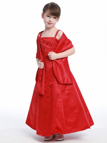 Red Flower Girl Dress - Matte Satin A-Line