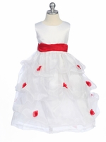 Red Flower Girl Dress - Matte Satin Bodice Gathered Organza