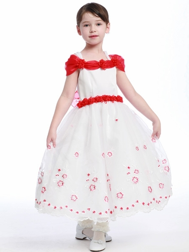 Red Flower Girl Dress - Matte Satin Bodice Organza Skirt