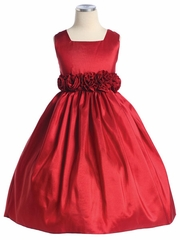 Red Flower Girl Dress - Taffeta Dress w/ Flower Cummerbund