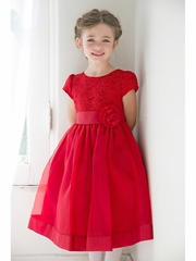 Red Girls Floral Lace Bodice Organza Dress