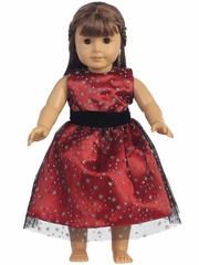 "Red Glitter Tulle 18"" Doll Dress"