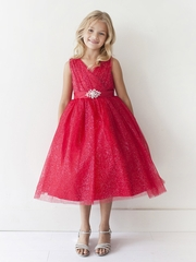 Red Glitter V Neck Tulle Dress w/ Rhinestone Brooch