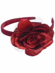 Red Headband w/ Large Rose
