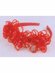 Red Headband w/ Rosebuds