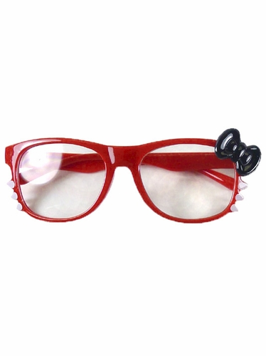 Red Kids Clear Polycarbonate Lens Sunglasses w/ Black Bow