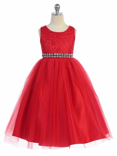 Red Lace & Tulle Dress w/ Rhinestone Belt