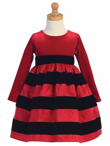 Red & Black Striped Stretch Velvet Bodice w/ Flocked Taffeta Skirt
