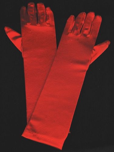 Red Long Satin Gloves