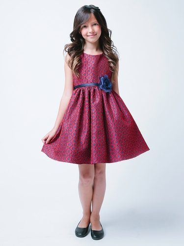 Red & Navy Geo Floral Jacquard Dress