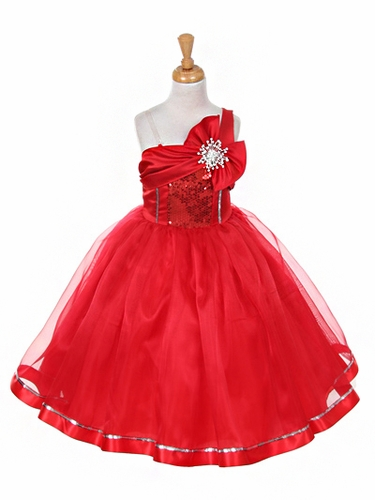 Red One Shoulder Sparkle Organza Dress