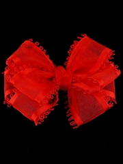 Red Organza Bow Hair Clip