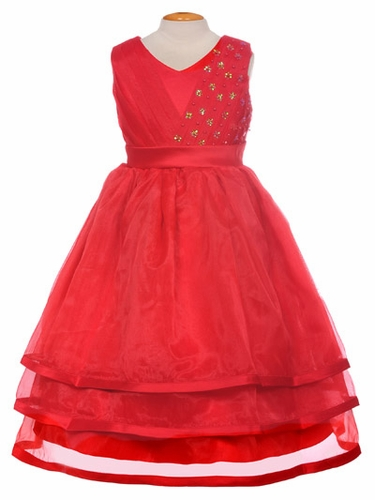 Red Organza Embellished V-Neck Three Layer Dress