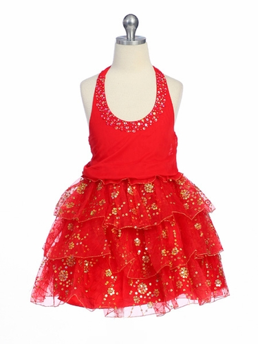 Red Pageant Girl Dress - Organza Halter Top Dress