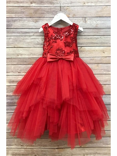 Petite Adele 284 Red Sequined Top & Ruffle Tulle Skirt