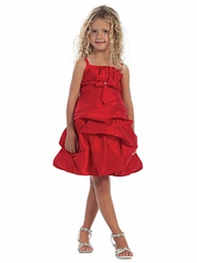 Red Pick Up Style Taffeta Dress w/ Gathered Bodice & Bolero