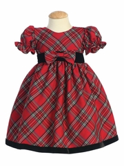Swea Pea & Lilli Red Plaid Baby Dress w/ Velvet Trim