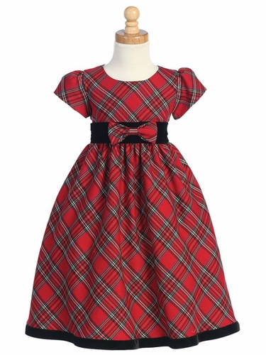 Red Plaid Girls Dress w/ Velvet Trim