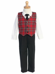 Swea Pea & Lilli Red Plaid Vest w/ Black Pants