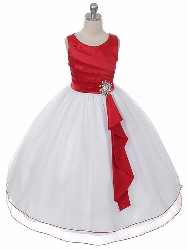 Red Pleated Bodice w/ Double Layer Skirt Dress