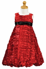 Red Ribboned Taffeta A-Line Dress
