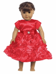 Red Satin Bodice w/ Floral Ribboned Skirt 18� Doll Dress