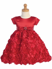 Swea Pea & Lilli Red Satin Bodice w/ Floral Ribboned Skirt