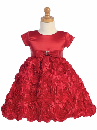 Red Satin Bodice w/ Floral Ribboned Skirt