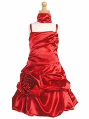 Red Satin Bubble Dress w/ Gathered Flower & Shawl