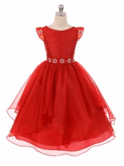 Red Satin Layered Organza Dress w/ Jeweled Cap Sleeve & Belt