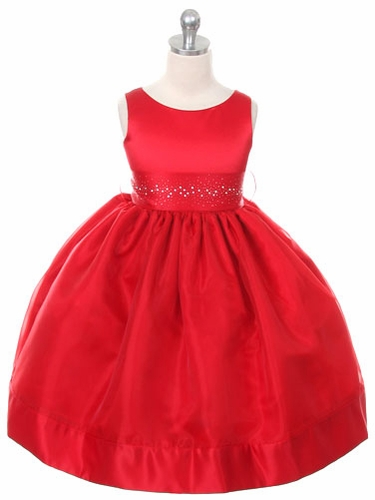 Red Satin Organza Dress w/ Rhinestone Sash