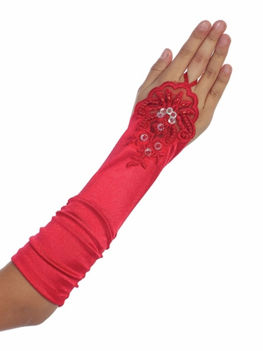 Red Satin Ruched Fingerless Gloves
